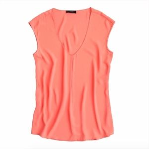 J. Crew Cap Sleeve Coral Shirttail Blouse